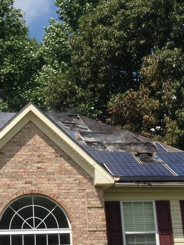 Crews Battle Solar Panel Fire