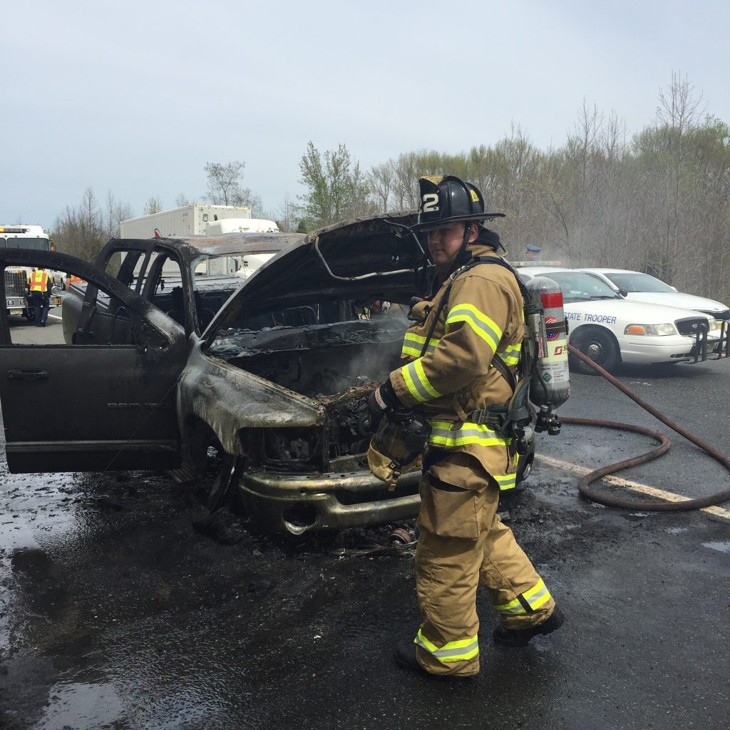Company Extinguishes Fully Involved Vehicle