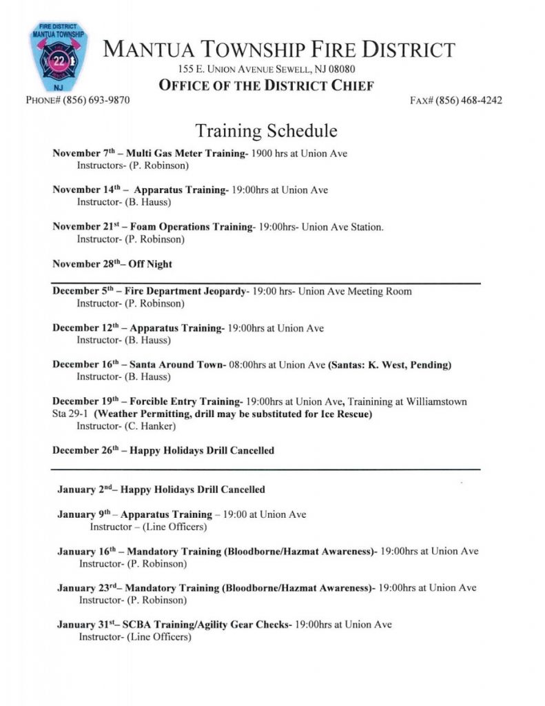 Training Schedule Posted