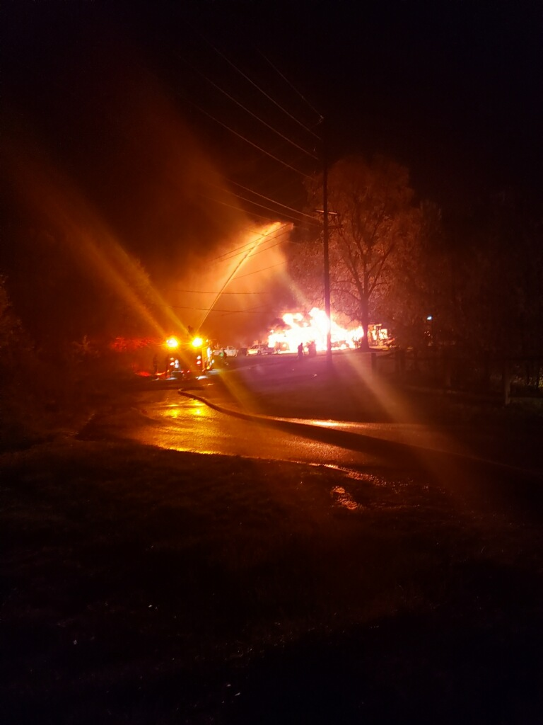 Large Fire at Mantua Township Public Works Yard